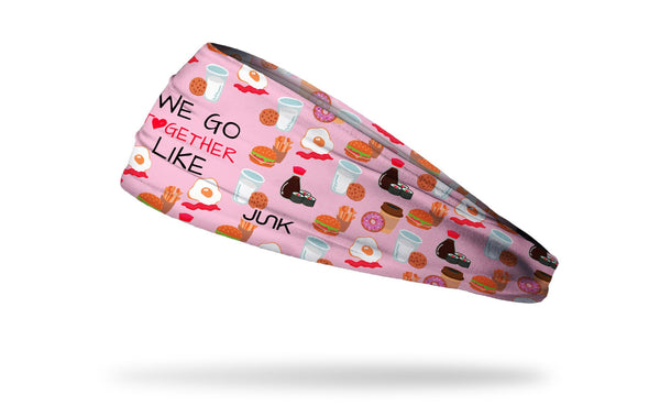 light pink headband with repeating pattern of foods that go together and we go together like wordmark