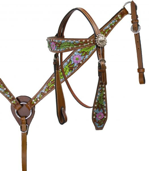 "14"", 15"", 16"" Double T  barrel style saddle set with metallic painted floral tooling."