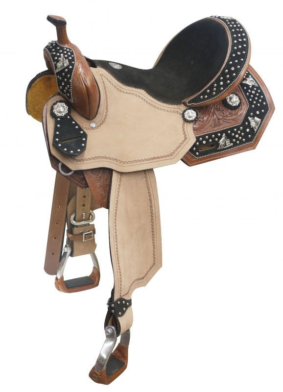 "14"", 15"", 16"" Double T barrel saddle with barrel racer conchos on suede leather overlays."