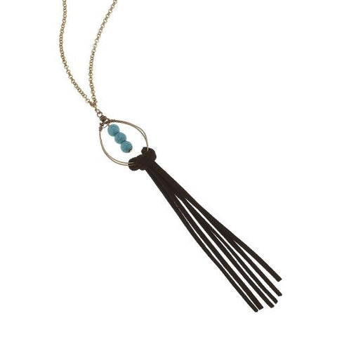 "16"" gold chain necklace with leather tassel with turquoise stones. 7."