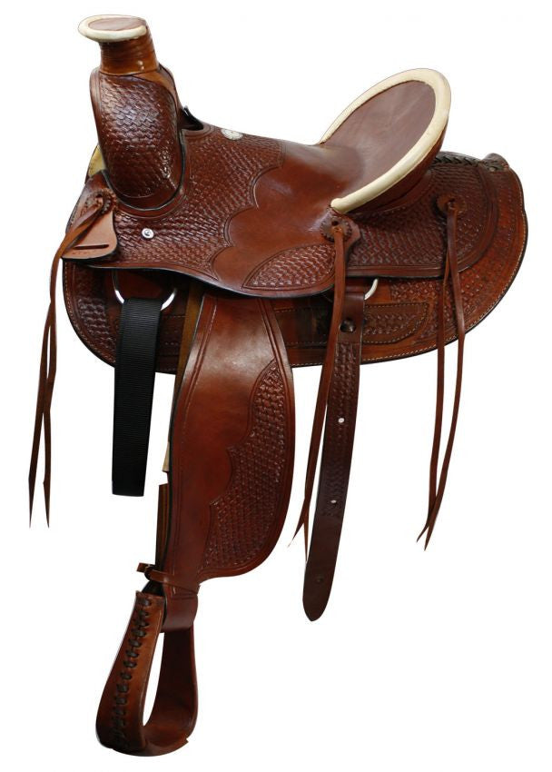 "16"" Buffalo saddle with basket weave tooling."