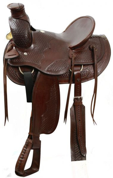 "16"" Buffalo wade style hardseat saddle with natural rawhide."