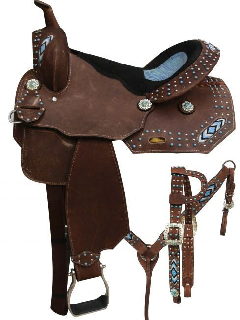 "16"" Economy barrel style saddle set beaded inlays."