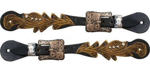 """Showman ® Adult size Cut out tooled spur straps with crystal rhinestones.  """