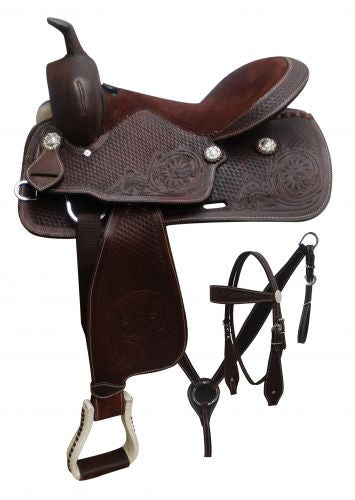 "16"" Economy style saddle set with floral and basket weave tooling."