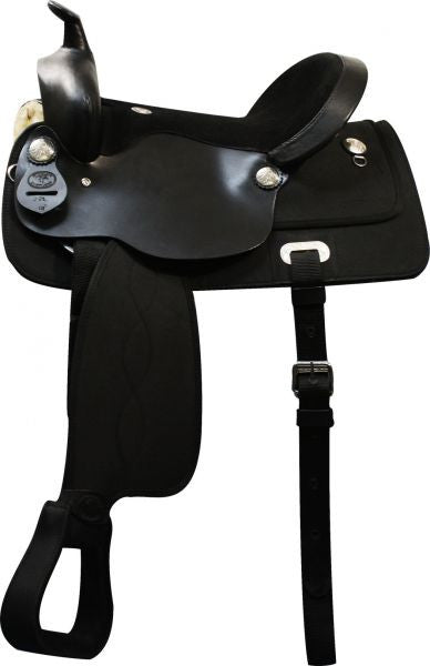 "16"", 17"" Double T nylon cordura saddle with suede leather seat and leather jockeys."
