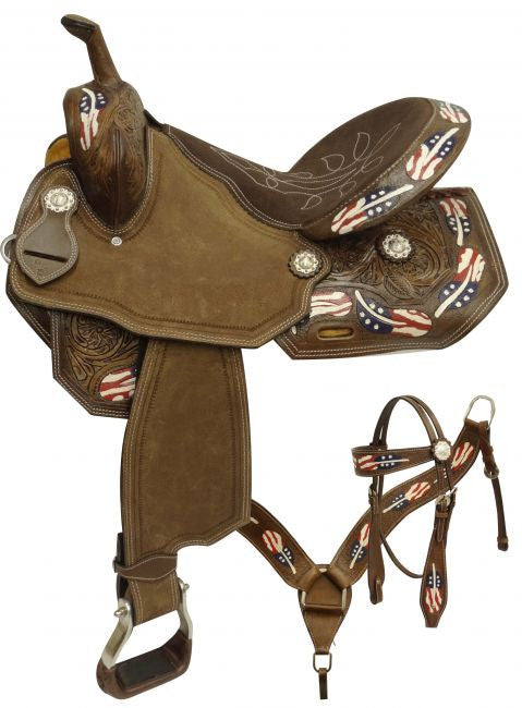 "15"", 16""  barrel style saddle set with red, white and blue painted feathers."