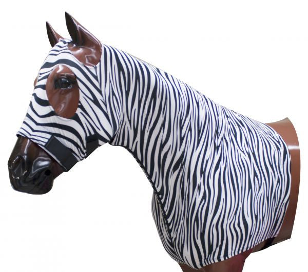 Showman Zebra Print Form fitting, breathable Lycra hood with zipper neck