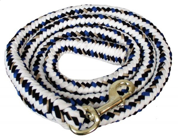 8' Braided cotton multi-colored softy lead rope with heavy duty brass snap