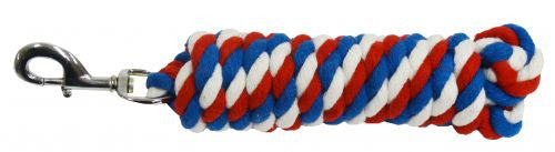 Showman 10' red, white and blue braided cotton lead with swivel bolt snap
