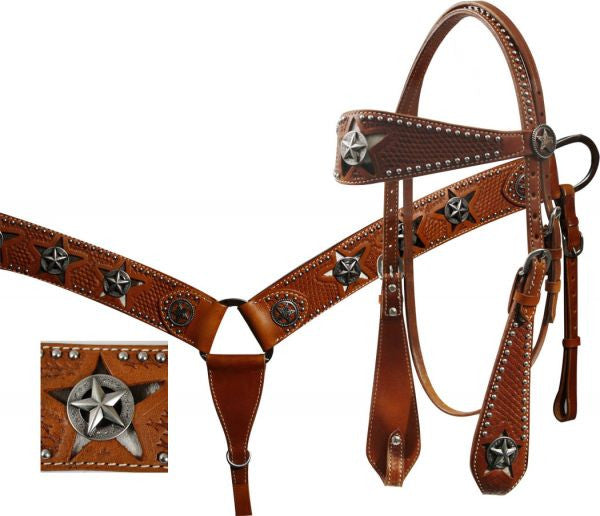 Showman ® wide leather basket weave tooled browband headstall and breastcollar set with cut out star hair on cowhide inlay