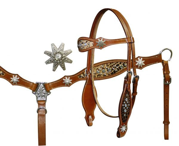 Showman ® Headstall and Breast Collar Set with Cut Out Alligator Print Accented with Spur Rowel Conchos and Crystal Rhinestone Studs.