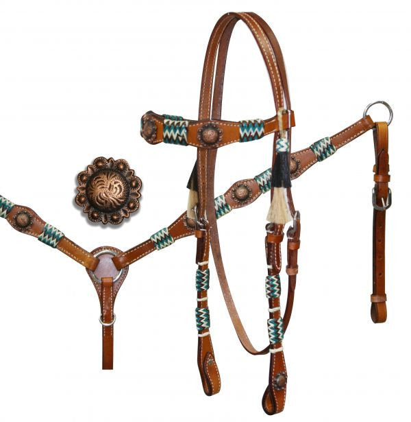 Showman /® Rawhide Braided Headstall and Breastcollar Set with Antique Style Conchos