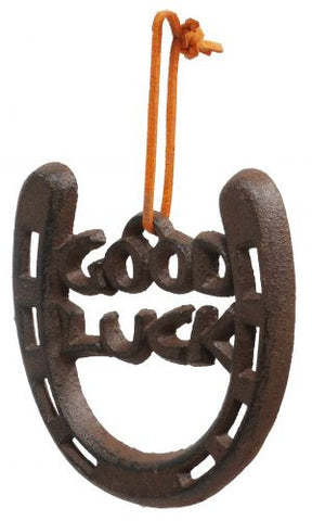 """ Good Luck"" Cast iron horse show wall hang. 4"" H x 4"" W"