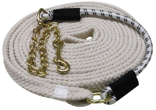 "25' long flat braided cotton lunge line with 20"" brass chain and 18"" bungee tie"