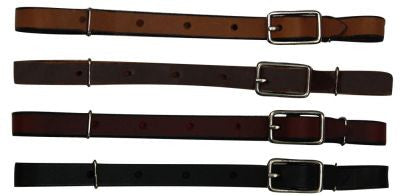 All leather buckle curb strap. Made in USA.