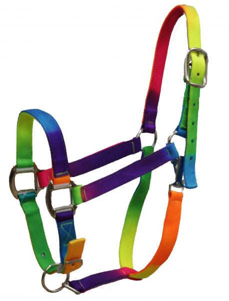 Showman rainbow colored 3 ply nylon halter with adjustable nose