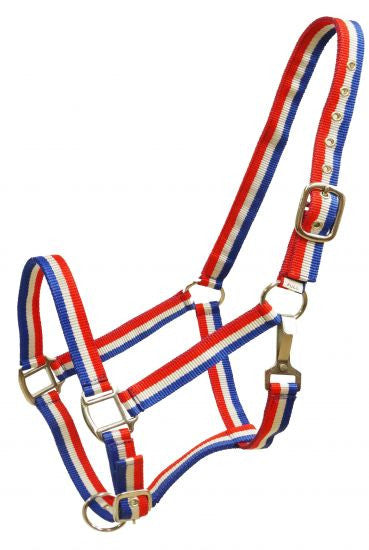 Showman Red, white and blue striped nylon halter