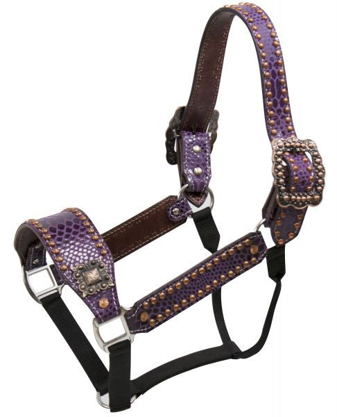 Showman ® Purple snake print belt style halter with copper accents
