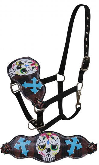 Showman ® FULL SIZE Leather bronc halter with painted sugar skull with cross design.
