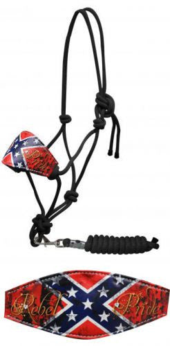 "Showman ® "" Rebel Pride"" cowboy knot bronc halter with removable lead."
