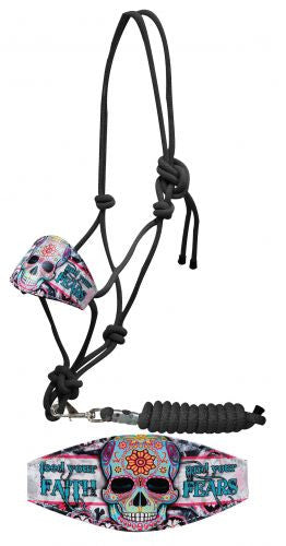 "Showman ® ""Feed your faith and your fears"" sugar skull print bronc nose rope halter."