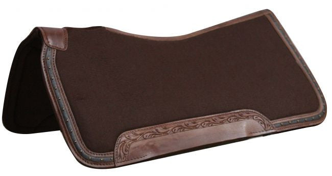 "31"" x 32""  100% Wool top, memory felt bottom saddle pad with leather trim."