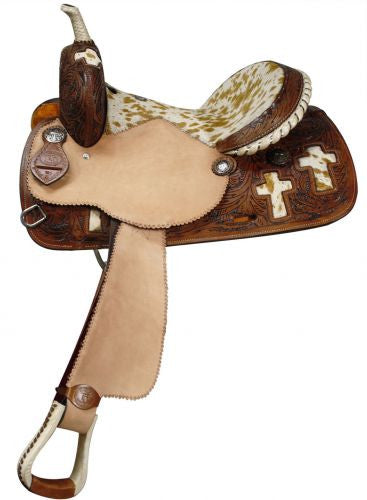 "14"", 15"", 16"" Double T Barrel Style Saddle with Hair On Cowhide Seat and Cross Inlays."