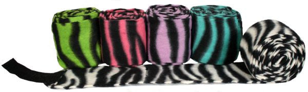 Showman set of 4 zebra print fleece polo wraps