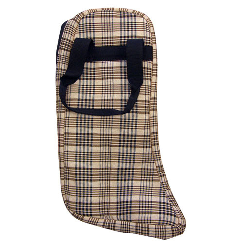 Lined English Boot Bag Black Plaid