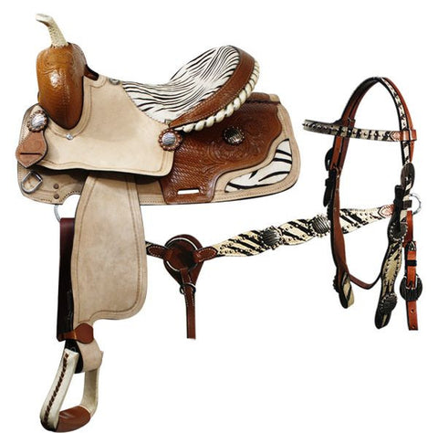 "14"", 15"", 16"" Double T barrel style saddle with matching headstall and breast collar."