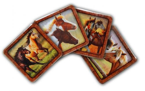 Set of 4 Metal horse motif coasters with cork backing