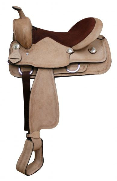 "16""  Full Rough Out Leather Economy Saddle.   *Full QH Bars*"