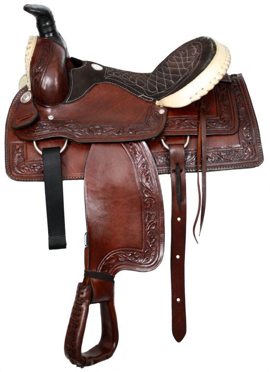 "16"" Buffalo roper style saddle with silver laced rawhide cantle and pommel."