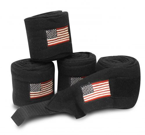 American flag embroidered black fleece polo wraps