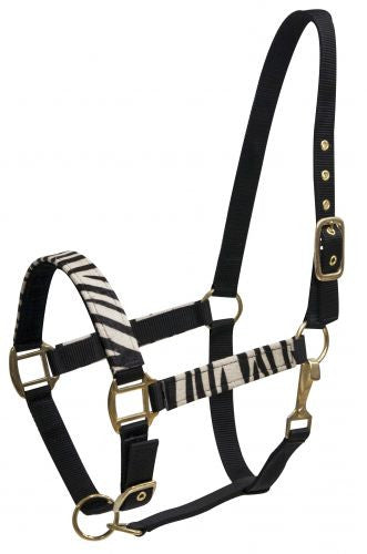 Zebra print over black nylon halter
