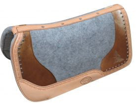 "Showman ® PONY 24"" x 24""  Argentina cow leather saddle pad hair on cowhide and etched barrel racer desig"