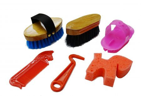 6pc Jr. Grooming kit. Includes a sponge, hoof pick, stiff bristle brush, medium bristle brush, curry and mane comb.