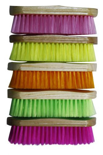"Medium bristle brush with wood handle measures 2"" x 8"". Sold in color pack of 10. (2 of each) Lime Green, Orange ,Yellow, Purple. Pink."