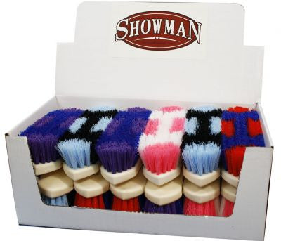 Showman™ Colored stiff bristle grooming brush with plastic molded handle.