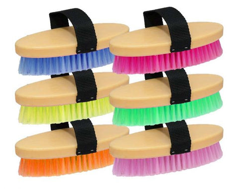 "7"" Neon body brush with nylon handle. Sold in cases of 12. 2 each color."