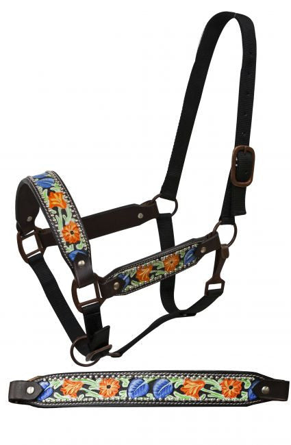 Showman FULL SIZE Painted floral tooled belt halter with antique style hardware