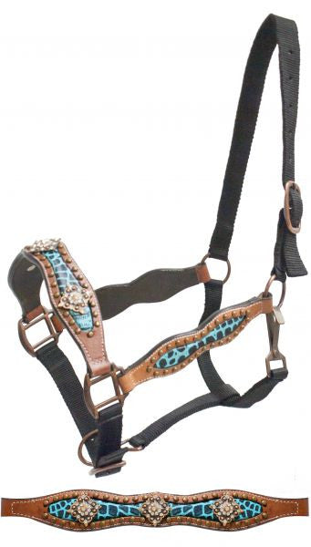 Showman FULL SIZE belt style halter with teal alligator print inlay and crystal rhinestone conchos