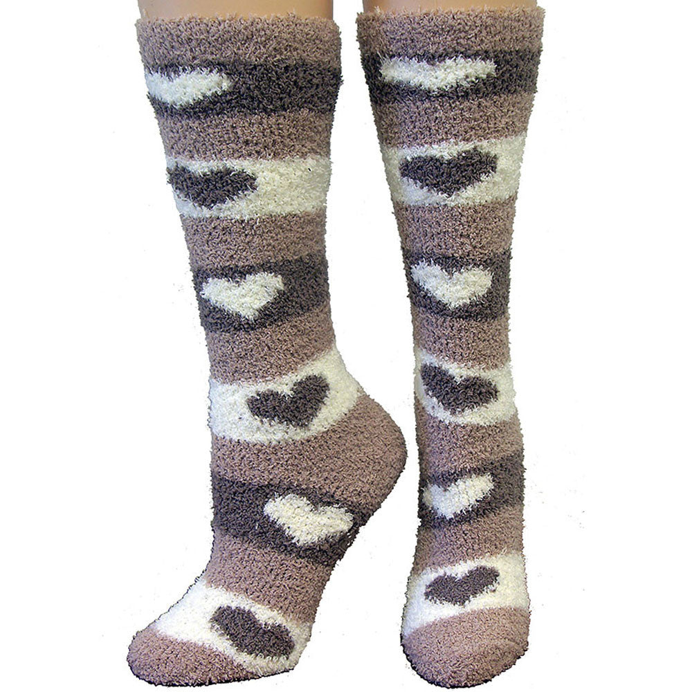 Fuzzy Comfy Heart Design Ladies Socks