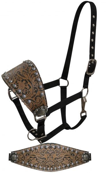 Showman Adjustable bronc style halter with filigree print accented with small studs and engraved conchos