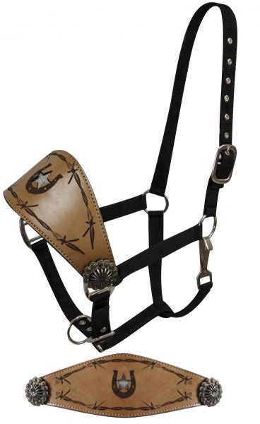 Showman FULL SIZE   Bronc Halter with glitter star cut out accented with horse shoe and barbed wire print