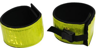 Showman reflective yellow vinyl neoprene leg bands