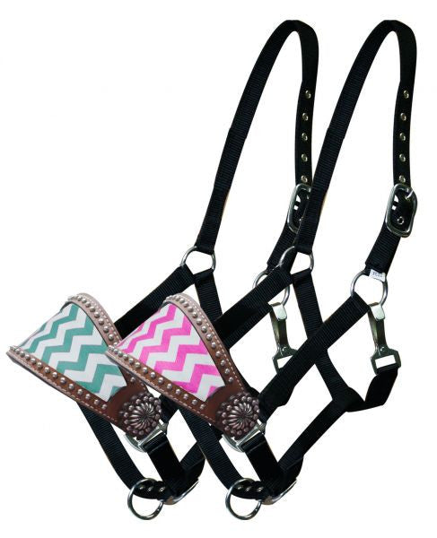 Showman Adjustable nylon bronc halter with chevron noseband