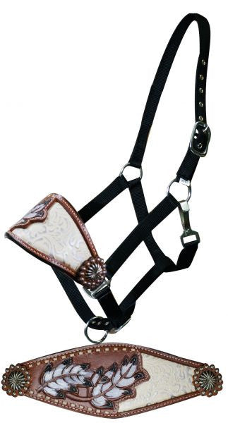 Showman Adjustable nylon bronc halter with painted feather and filigree inlay noseband