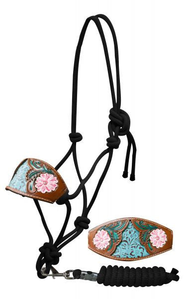 Showman Bronc nose cowboy knot halter with painted floral tooled noseband